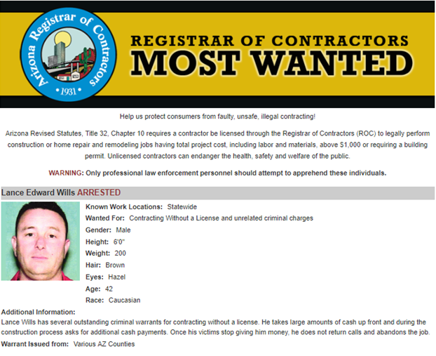 Most Wanted Unlicensed Entity Arrested by Mesa PD | Arizona